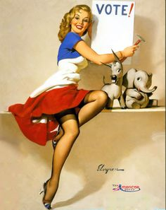 """Gil Elvgren - """"It's Up To You"""" - 1958 - An election day favorite from Elvgren"""