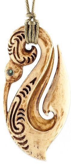 Antiqued Maori Bone Guardian Manaia Pendant