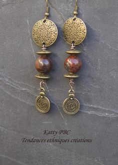 """Boucles d'oreille ethnique """"Aka""""- Perles gemmes et bronze"""