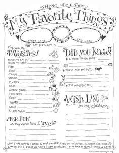 My Favorite Things Teacher Questionnaire