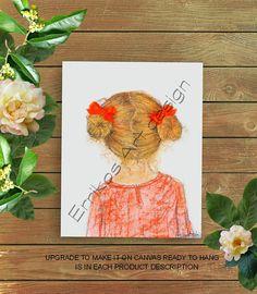 Little Girl Hairstyle print, Girls room art, Girls wall decor, Hair salon decor, Toddler Girl Art, Girls room decor, Baby girl hairstyle art