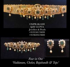 4 in 1 Vaddanam + Choker + Bajubandh + Earrings - Indian Jewellery Designs Pearl Necklace Designs, Jewelry Design Earrings, Gold Earrings Designs, Jewellery Designs, Earrings Photo, Gold Designs, Jewelry Patterns, Real Gold Jewelry, Indian Jewelry