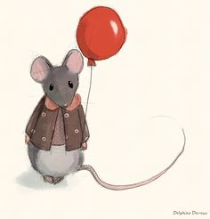 """by Delphine Doreau """"In France the tooth fairy is la """"Petite Souris"""" - the little mouse. Mouse or Fairy, I wonder what she does with the teeth. Art And Illustration, Red Balloon, Balloons, Woodland Animals, Illustrators, Whimsical, Artsy, Creatures, Art Prints"""