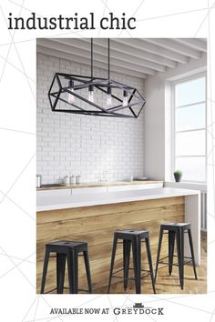 Give your modern home an industrial twist with chic new pendants chandeliers cei Industrial Ceiling Lights, Vintage Industrial Lighting, Industrial Light Fixtures, Dental Office Design, Interior Lighting, Lighting Ideas, Apartment Chic, Residential Lighting, Home And Family