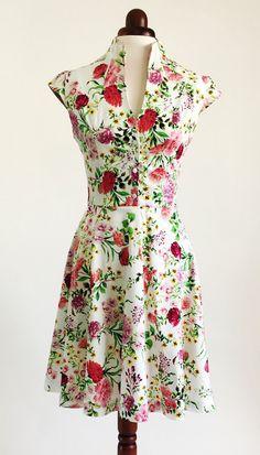 Printemps robe à fleur, robe fleurie, robe d'été, robe de style vintage, robe mi-longue, robe en coton, des années 50, robe, robe de soirée, SS16 de jardin