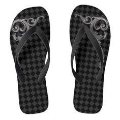 Shop Elegant Goth Swirl Design Flip Flops created by vamporium. Flip Flop Art, Flip Flops, Neo Victorian, Swirl Design, Summer Fun, Goth, Slip On, Sandals, Elegant