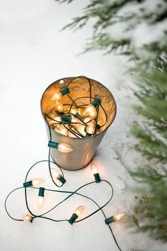 big white Christmas lights in galvanized bucket Christmas Time Is Here, Christmas Tree Farm, Merry Little Christmas, Noel Christmas, Winter Christmas, All Things Christmas, Vintage Christmas, Christmas Images, Outdoor Christmas
