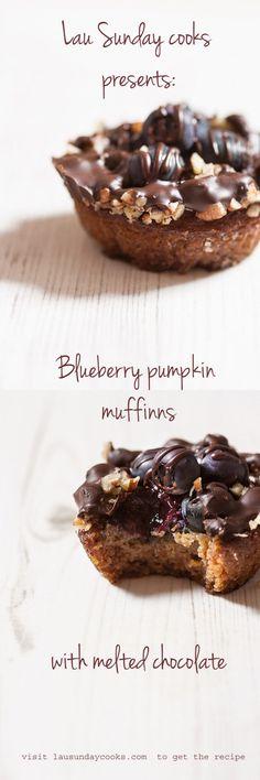 paleo-blueberry-pumpkin-muffins-recipe Paleo Muffin Recipes, Gluten Free Recipes For Breakfast, Primal Recipes, Free Breakfast, Brunch Recipes, Paleo Blueberry Muffins, Paleo Pumpkin Muffins, Paleo Chocolate, Melting Chocolate