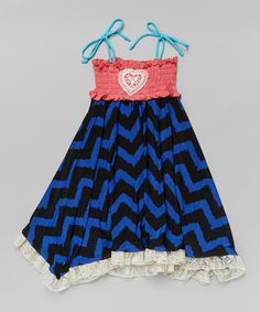 Look what I found on #zulily! Coral & Royal Blue Zigzag Shirred Tie Dress - Girls #zulilyfinds