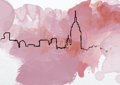 New York Skyline Poster digital file instant por waterandwoodart