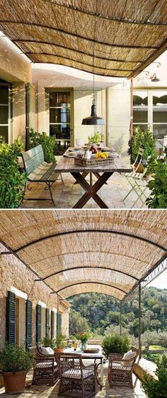 #11. Bamboo blinds as a sunshade pergola.