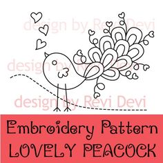 Lovely Peacock 15056 - PDF Embroidery Pattern - with color suggestion and reversed pattern - Kawaii cute fun whimsical modern design