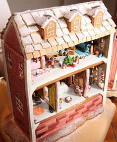 Decorating the inside of this gingerbread dollhouse just might be more fun than your typical plans for a sugary exterior. See more at Heleen's Hobbies »  - GoodHousekeeping.com