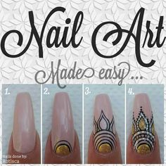 Love this Gold and Black over Nude nail art! Using the NSI HD Detailing brush for those super fine lines, this nail art is perfect for the BOHO look!