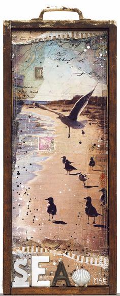 "Winter Birds No. 1 & No. 28""x18"" original mixed media inside antique whitewashed drawers - by Mae Chevrette"