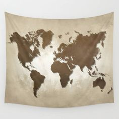 Wall Tapestry Wall Hanging Sofa Throw Design 64 World map brown sepia Home Decor art L.Dumas by artbyLucie on Etsy
