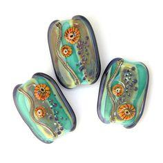 Wildflowers - Handmade Lampwork Glass Bead Set by Sarah Hornik