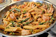 feta, shrimp and asparagus pasta