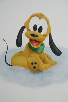 Muurschildering van Baby Pluto voor op de babykamer. Bekijk ook mijn Facebookpagina:  https://www.facebook.com/esthersmuurschilderingen/