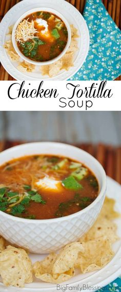 Quick and easy Chicken Tortilla Soup recipe, perfect for using leftover chicken- and it tastes as good as any resturant! Chowder Recipes, Easy Soup Recipes, Salad Recipes, Chicken Recipes, Dairy Recipes, Delicious Recipes, Yummy Food, Chicken Tortilla Soup, Homemade Soup