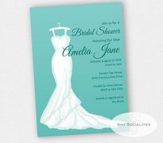 Wedding Dress Invitation | Bridal Shower | Bridal Gown | Instant Download TEMPLATE | Editable Text PDF by ShySocialites on Etsy