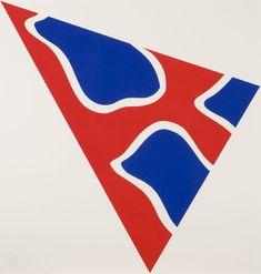 """Claude Viallat, """"Triangle, fond rouge, formes bleues"""", Atelier Piero Crommelynck, 1992, Cuivre découpé signé et numéroté """"7/20"""" 83 x 87 cm"""