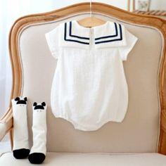 赤ちゃん セーラー服 半袖 カバーオール 夏用 ロンパース 海軍風 男の子 女の子 ルームウェア パジャマ ベビー ベビー服 ギフト 出産祝い