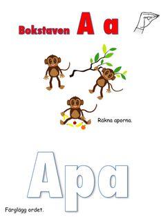 Ett arbetshäfte om bokstaven A. Klicka på länken här för att skriva ut materialet: Bokstaven A