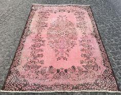 OVERDYED LIGHT Pink Carpet - Handmade Pink Rug - Distressed Rug - Turkish Rug - Anatolian Rug - Vintage Rug - OUSHAK Rugs - Soft Pink Rug by istanbulcarpet on Etsy