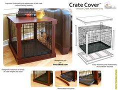its a space saver and actually doesnt look bad Dog crate cover - 17 Awesome Diy Dog Crate Cover Dog Crate Cover, Dog Kennel Cover, Diy Dog Crate, Diy Dog Kennel, Kennel Ideas, Dog Crate End Table, Wooden Dog Crate, Crate Bench, Dog Kennels