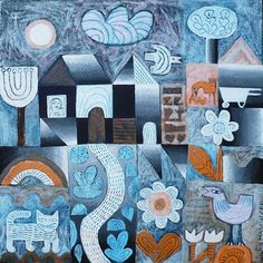 Hilke MacIntyre paintings feature quilt like composition