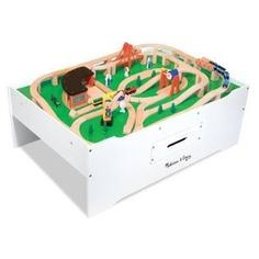 """Space-defining play area! This easy-to-assemble, sturdy wooden play table from Melissa and Doug is ideal for trains, dollhouses, arts & crafts projects, blocks, puzzles and more! It features a double-sided play board and jumbo-sized drawer for convenient storage!     Dimensions: 17.75"""" x 33"""" x 50"""" Assembled.     Recommended Ages: 3+ years.     Contains small parts.   Adult assembly required. $109.78"""
