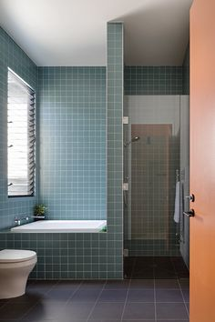 In this modern bathroom, there's a walk-in shower and a half-size bath that are surrounded by square blue tiles with a white grout. Bathroom Layout, Bathroom Interior, Small Bathroom, Master Bathroom, Brown Bathroom, Modern Bathrooms, Interior Garden, Bathroom Vanities, Bathroom Wall