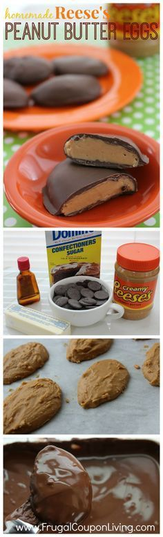 Homemade Reese's Egg Recipe – Peanut Butter, Chocolate Covered Candy on Frugal Coupon Living. Easter Dessert Idea.