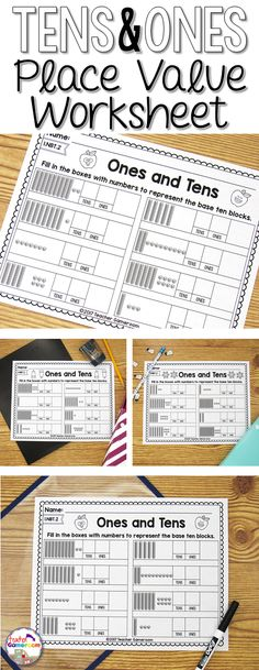 Place Value Worksheet. Students use base ten blocks to count the tens and ones place, creating a number. #worksheets #placevalue