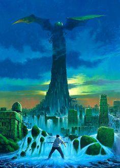 Fantastic illustration of R'lyeh rising by Les Edwards | Tumblr