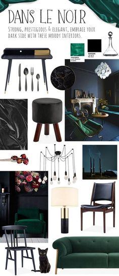 Trendy Ideas For Wood Lamp Vintage Dining Tables Green Dining Chairs, Bronze Living Room, Vintage Dining Table, Dark Interiors, Dining Room Teal, Navy Living Rooms, Black Living Room, Teal Living Rooms, Green Dining Room