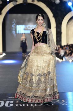 Gold lengha by Asifa & Nabeel at PFDC Bridal Week 2013