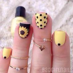 18 Chic Nail Designs for Short Nails: #5. Pretty Sunflower Nail Art
