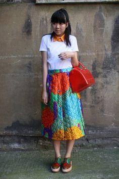 Susie Lau Style Bubble: prints, red bag, oxfords