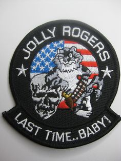 """VF-103 JOLLY ROGERS - """"Last Time Baby"""" Shoulder Patch"""