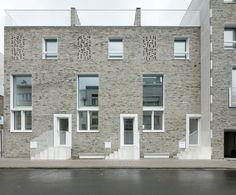Puls Architecten Nieuwbouw passief kinderopvang + passief woningen - Antwerpen Voorgevel Van Luppenstraat 46 - 46A - 48