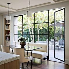 Have you seen the latest interior design trend of gorgeous, black steel windows and doors? I've decided it can work in both modern or traditional settings. Decor, Windows And Doors, House Design, New Homes, Steel Windows, Interior Design, Home Decor, House Interior, Living Spaces