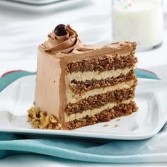 Walnut Mocha Torte - This elegant European-style torte layers walnut cake with coffee buttercream then envelops it all in mocha. For the buttercream, soften the butter until creamy before adding it to the cooled egg mixture. Coffee Cake, Coffee Dessert, Baking Recipes, Cake Recipes, Dessert Recipes, Köstliche Desserts, Delicious Desserts, Plated Desserts, Recipes