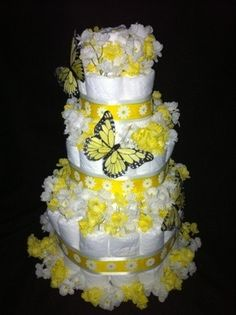 butterfly themed diaper cakes | Tier Butterfly Diaper Cake for Baby Shower Decoration Gift Neutral ...