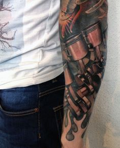 Men's Piston Tattoos Sleeve