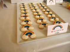 Cookies at a rainbow birthday party! See more party planning ideas at CatchMyParty.com!