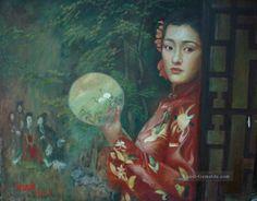 Chen Yifei - Chinese Girl with fan