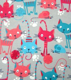 Snuggle Flannel Fabric Cats With Yarn