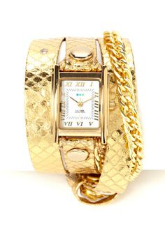 LA MER COLLECTIONS Glam Chain Triple Wrap Watch